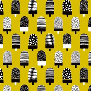 Colorful popsicle ice cream summer illustration pattern yellow ochre boys
