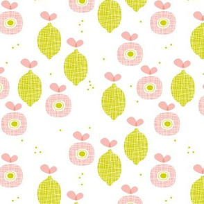 lemon and apple juice tropical summer fruit kitchen Scandinavian design vintage lime pink