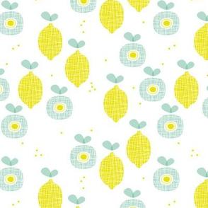 lemon and apple juice tropical summer fruit kitchen Scandinavian design vintage yellow mint