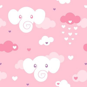 Elephant Clouds on pink