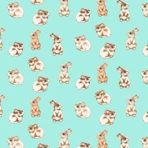 Easter Bunnies II on Aqua