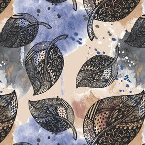 Doodled Hand Drawn Leaves On Watercolour