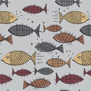 Doodled Retro Style Fish