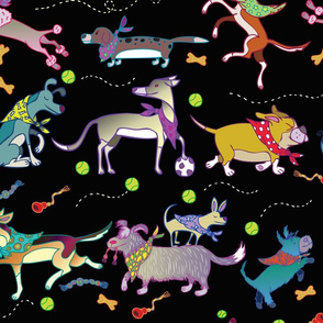 Happy Playful Dogs in Kerchiefs by HappyARt