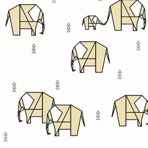 Elephants - black and white on pale yellow || by sunny afternoon