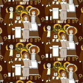 Pilgrims, Sunflowers and Thanksgiving Fabric K