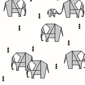 Elephants - geometric monochrome grey black and white gender neutral modern baby kids || by sunny afternoon