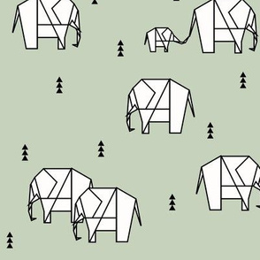 Elephants - geometric dusty mint gender neutral nursery || by sunny afternoon