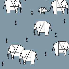 Elephants - geometric black and white on dusty blue || by sunny afternoon
