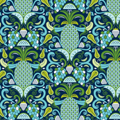 Ambrosia - Fruit Damask Navy Blue Aqua Green
