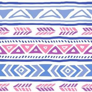 BoHo Native American Cute Diamond Stripe Design Pink, Blue and Purple