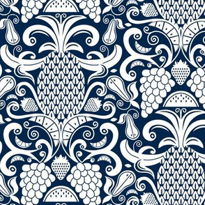 Ambrosia - Fruit Damask Navy Blue White