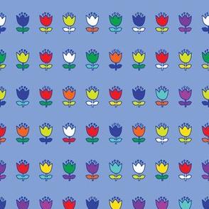 Little flower - multi on baby blue