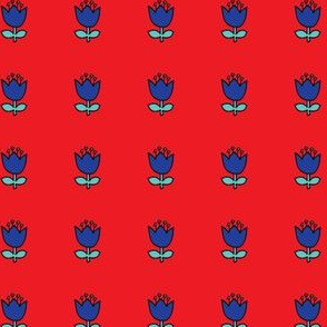 Little flower - blue on red