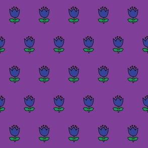 Little flower - blue on purple