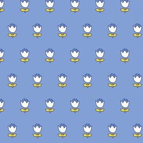 Little flower - white on blue