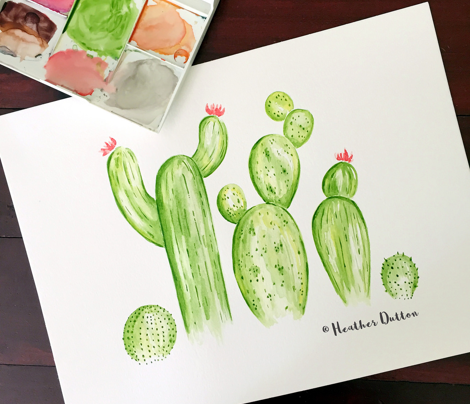 Cactus Garden Watercolor Green