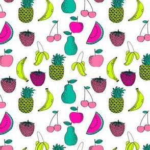 fruit // fruits summer tropical fun bright watermelon pineapple banana kids summer fruit print