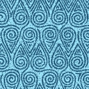 Rock Texture Swirl Teardrop Pattern in Peacock Blue