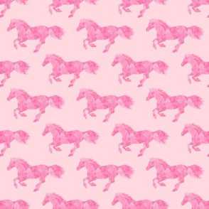 Watercolor Wild Horses in Pink on Pink