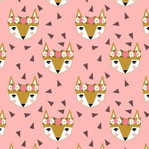 fox flower crown pink spring cute girly nursery baby