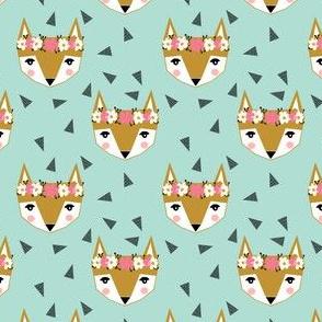 fox flowers crown mint cute girls sweet foxes girly fox print