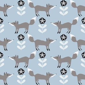 fox // winter grey blue animal woodland kids winter fabric