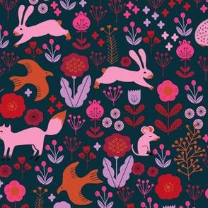 autumn // woodland critter creatures kids animals squirrel bunny birds autumn woodland fabric