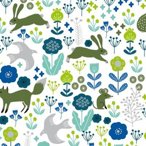 autumn // green and blue forest woodland animals fox bunny squirrels cute woodland critters