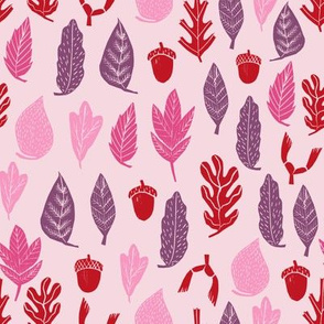 autumn leaves // autumn fall pink purple kids cute leaf oak  acorns girls autumn fall colors