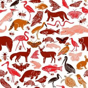 animals // fall autumn kids nature linocut blockprints fall colors fish birds nature outdoors