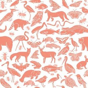 animals // nature block print linocut botanical kids one color wallpaper nature kids print