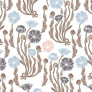 poppy // fall autumn soft pastel baby nursery sweet linocut block printed vintage floral nursery print