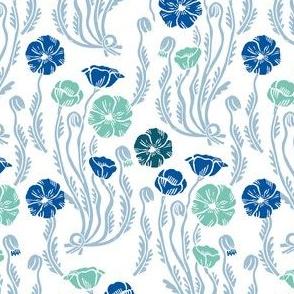 poppy // fall autumn blue green botanical flowers vintage linocut block print style floral print poppies