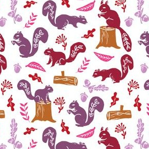 squirrels // kids oak nature woodland forest critter animals block print linocuts cute fall colors