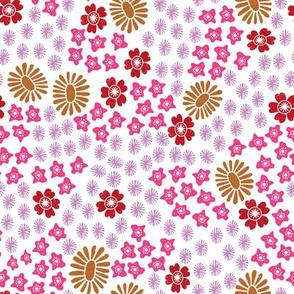 florals // autumn fall pink purple florals flowers girls nursery sweet linocut block print design