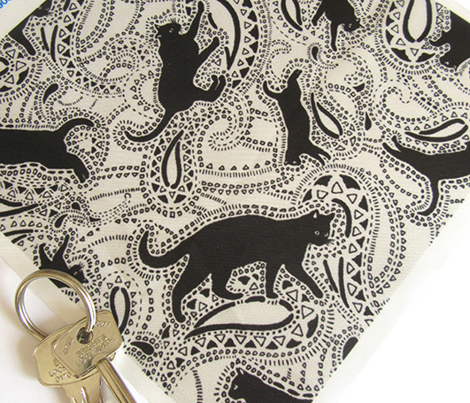 Paisley Cats - SMALL - SILVER & BLACK