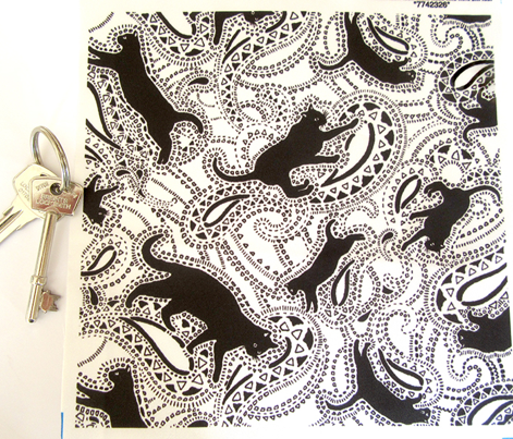 Paisley Cats - SMALL - WHITE & BLACK