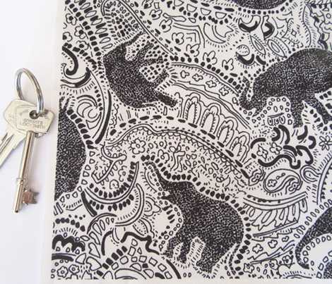 Paisley Elephants - MEDIUM - Silver & Black