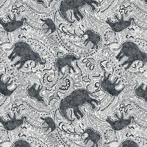 Paisley Elephants - MEDIUM - Silver & Black