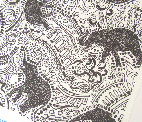 Paisley Elephants - MEDIUM - White & Black