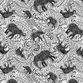 Paisley Elephants - MEDIUM - White & Black