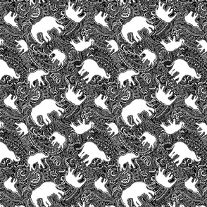 Elephant paisley SMALL black and white