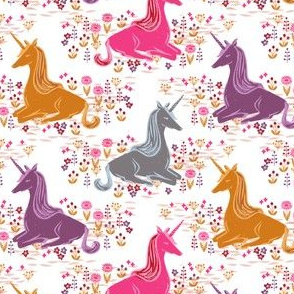unicorns // autumn colors fall colors girls unicorns fabric sweet botanical linocut unicorns