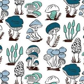 mushrooms // blue green linocut stamp kids blue and green autumn fall nature linocut block print