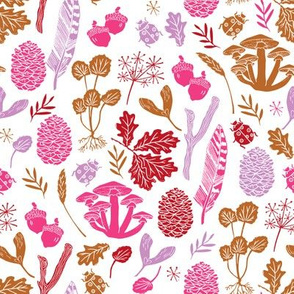nature walk // pink purple fall autumn kids outdoors girls botanical sweet linocut block print design