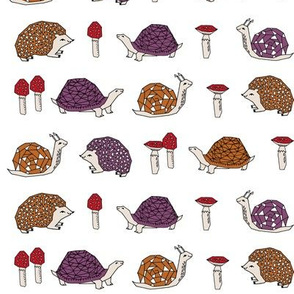woodland creatures // mushrooms snails woodland forest hedgies