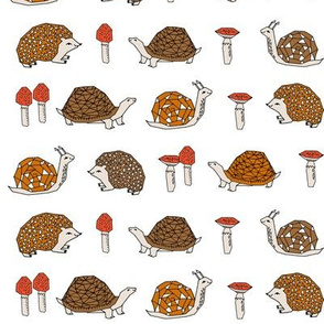 woodland critters // hedgehog snails mushrooms kids cute woodland forest animals