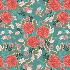 chrysanthemums // mums flowers floral linocut girls sweet flowers