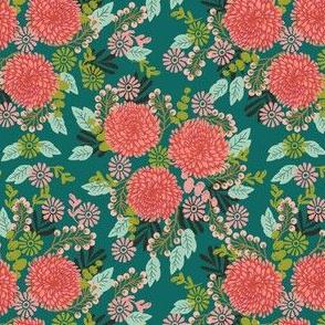 chrysanthemums // green mums flowers florals linocut block print girls autumn fall print